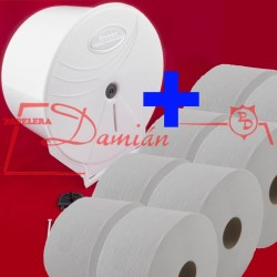 Dispenser De Papel Higienico + 8 rollos de 300mt